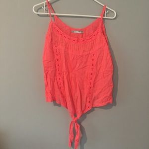 [Maurices] Hot Pink Tie Front Tank